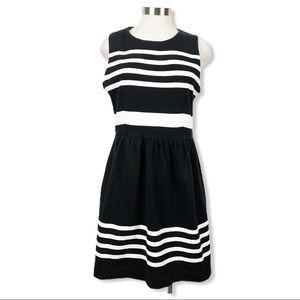 J. Crew Factory Black & White Striped Dress Medium